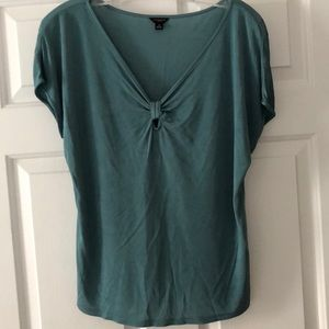 Ann Taylor silky rayon blouse in teal green.